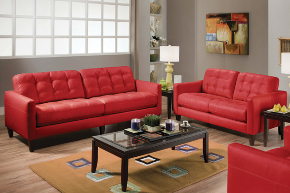 Milly Milano Red Sofa & Loveseat
