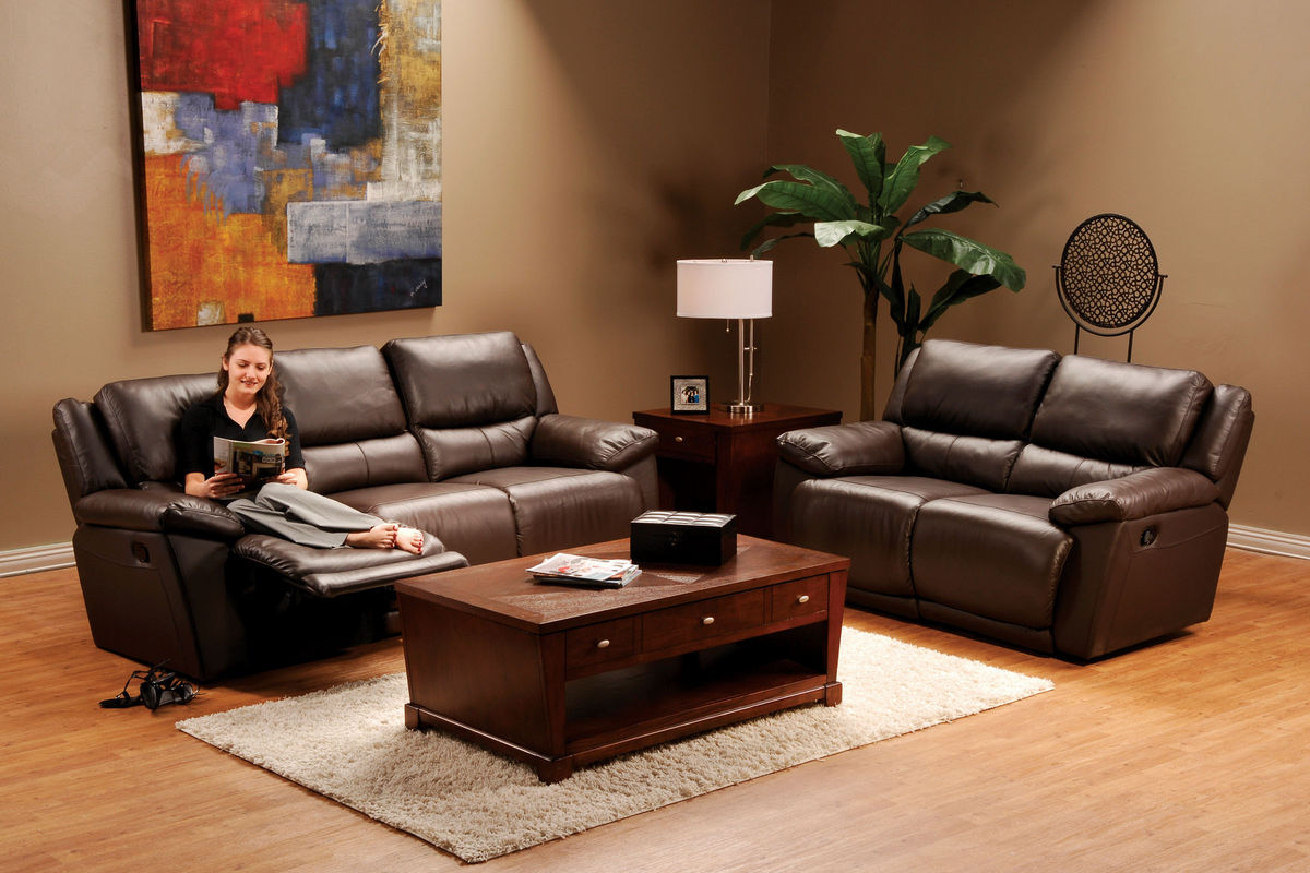 & Delray Brown Leather Reclining Loveseat islam-shia.org