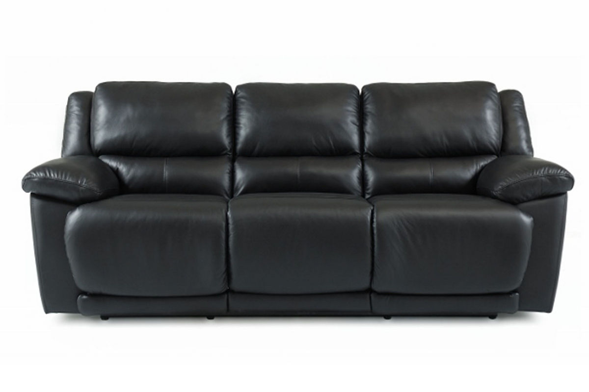 Delray black leather reclining sofa at gardner white for Furniture 60 months no interest