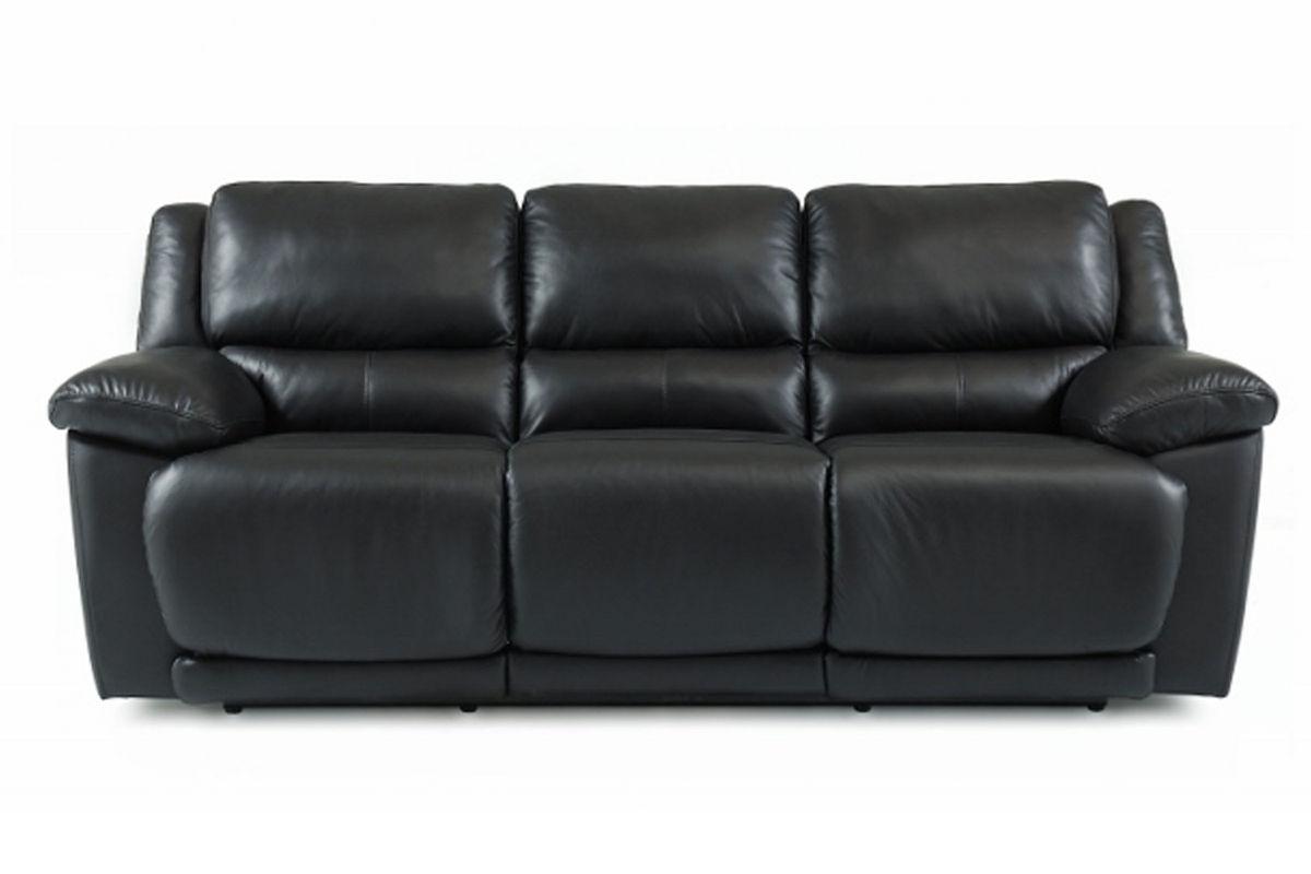 Delray Black Leather Reclining Sofa At Gardner White