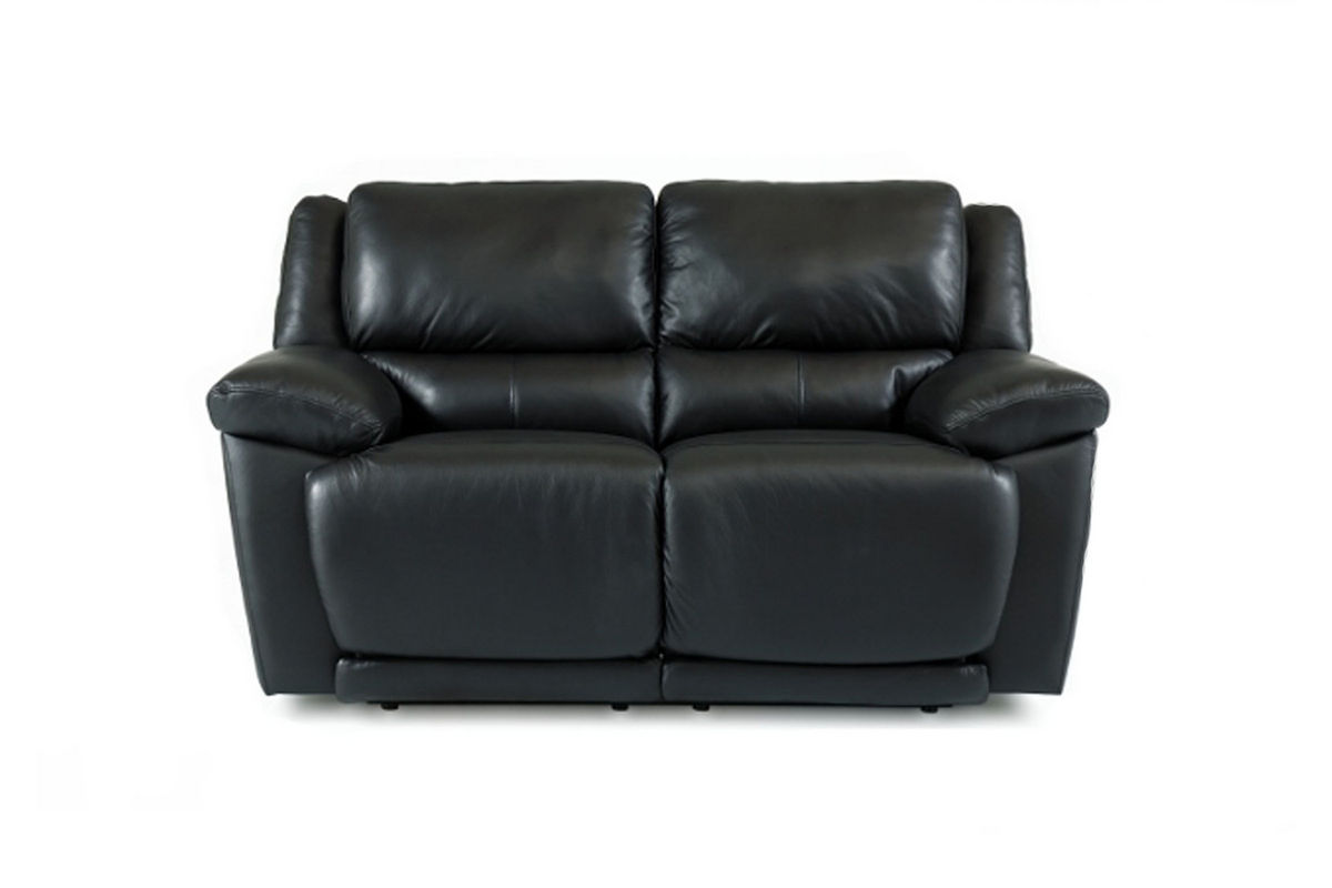 Delray Black Leather Reclining Loveseat