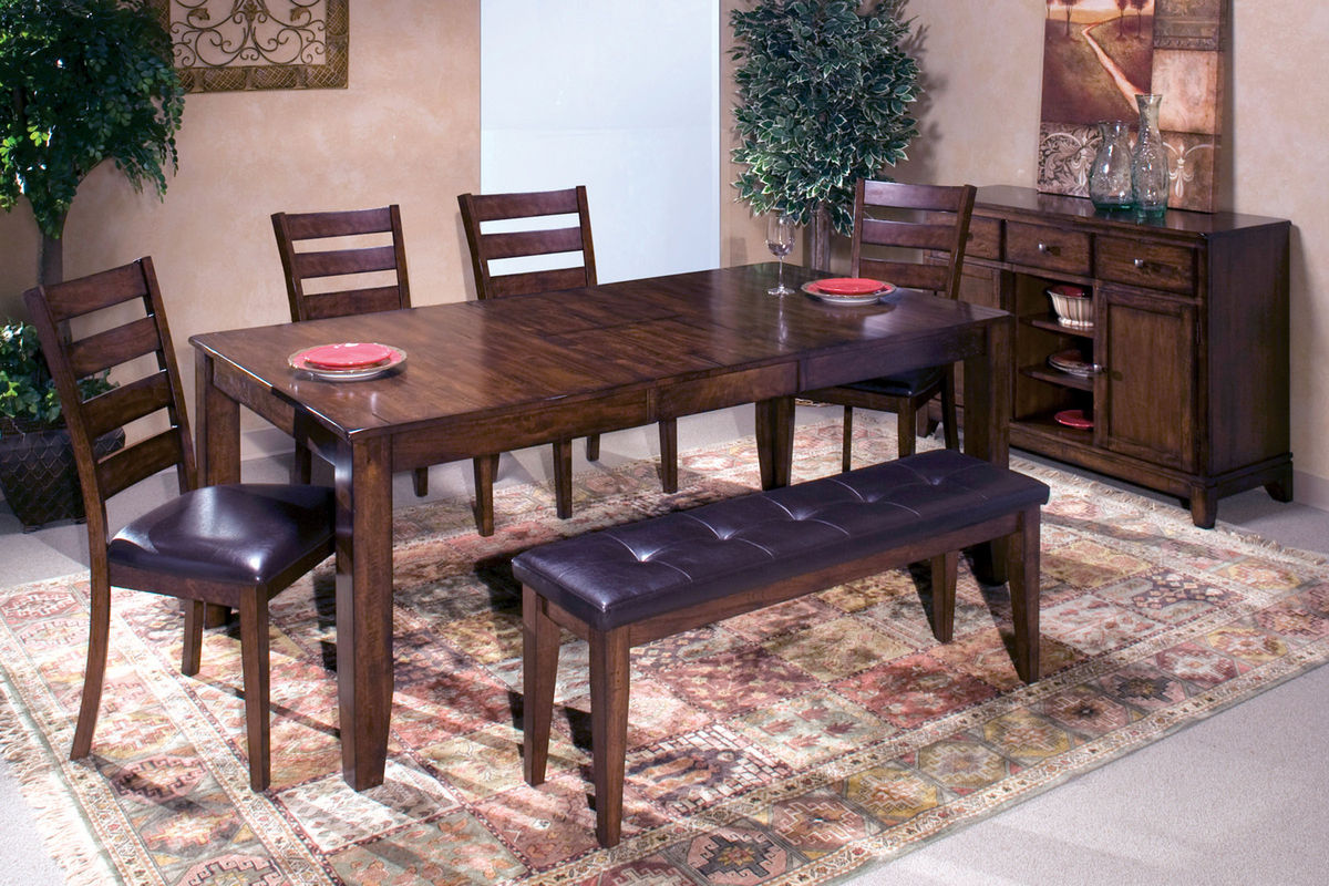 kona table with 4 side chairs bench