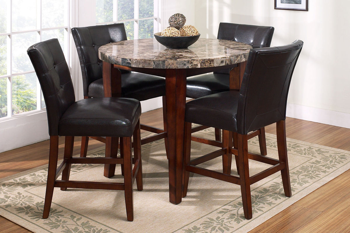 Montibello round pub table 4 stools at gardner white for Bar dining t bar
