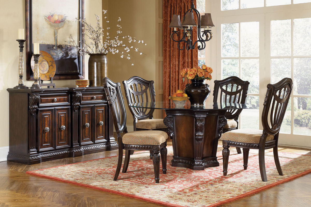 Cabernet Round Gl Pedestal Table 4 Chairs