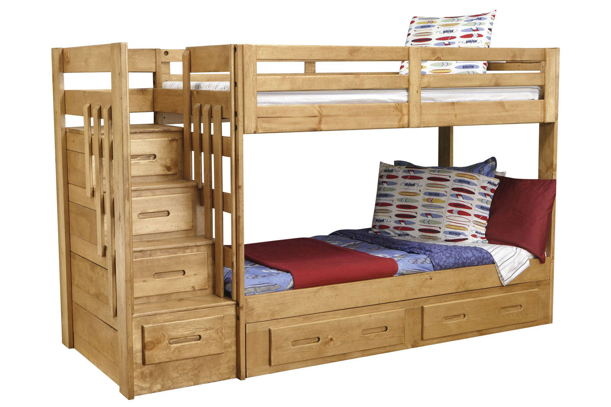 ponderosa twin stair storage bunk bed with storage trundle. Black Bedroom Furniture Sets. Home Design Ideas