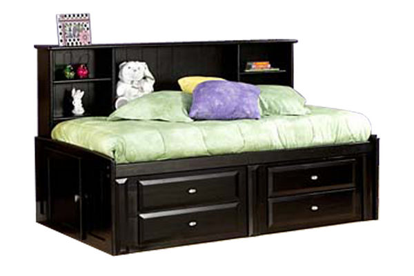Black roomsaver-style storage bed with bookcase headboard