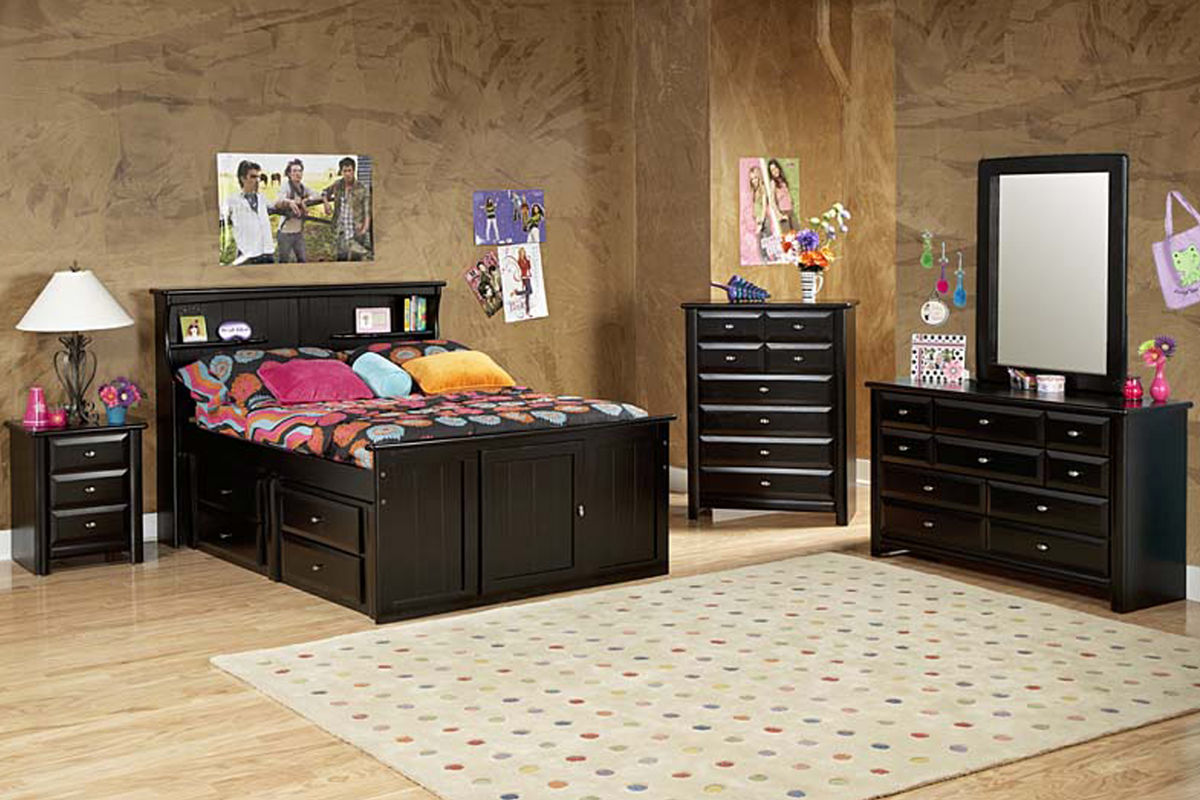 Laguna Black Full Bookcase Bed