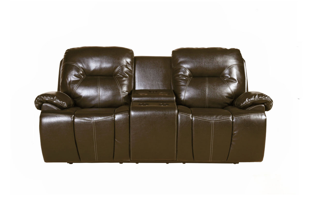 Florence Brown Reclining Loveseat With Console At Gardner