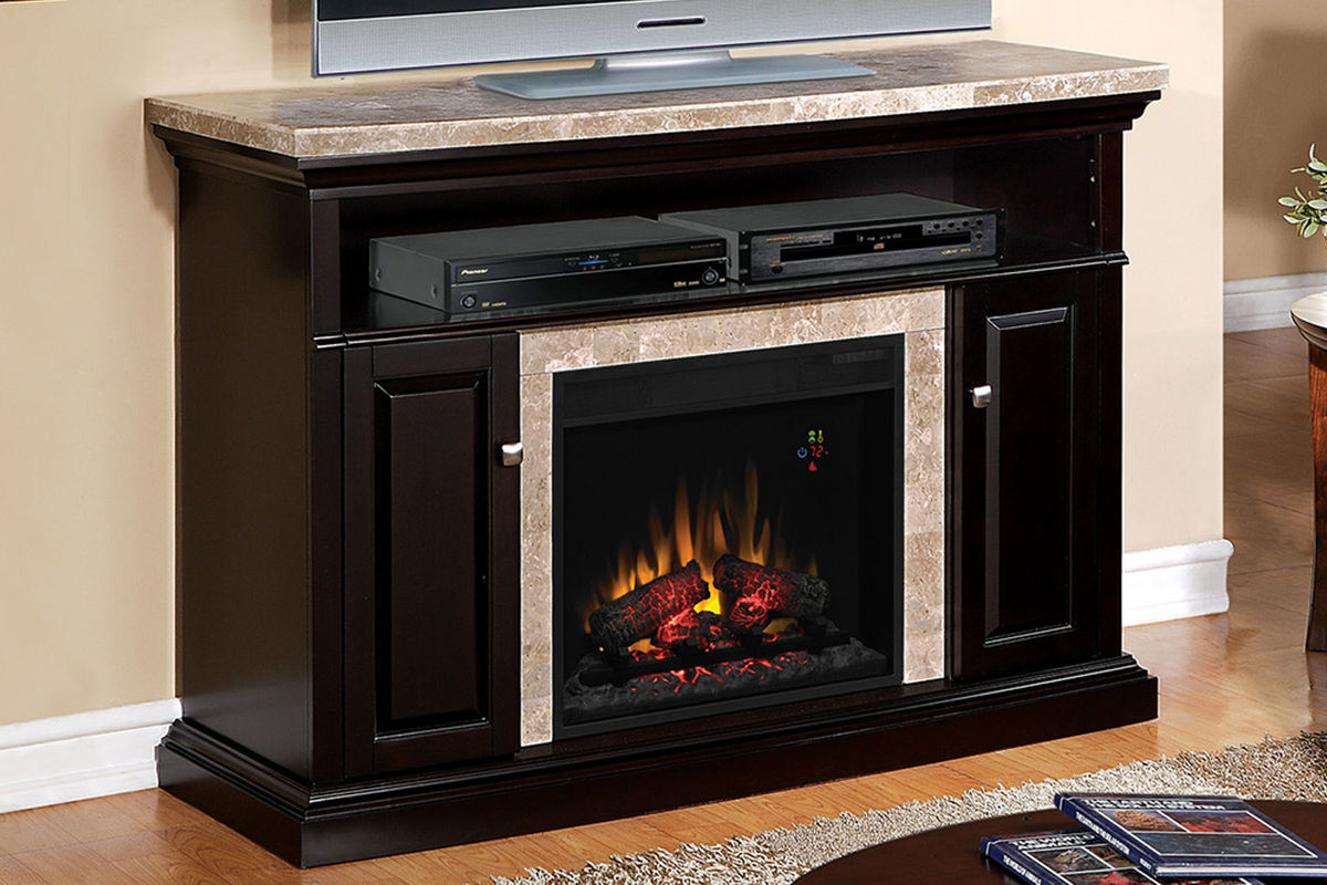 brighton black fireplace with granite mantel at gardner white. Black Bedroom Furniture Sets. Home Design Ideas