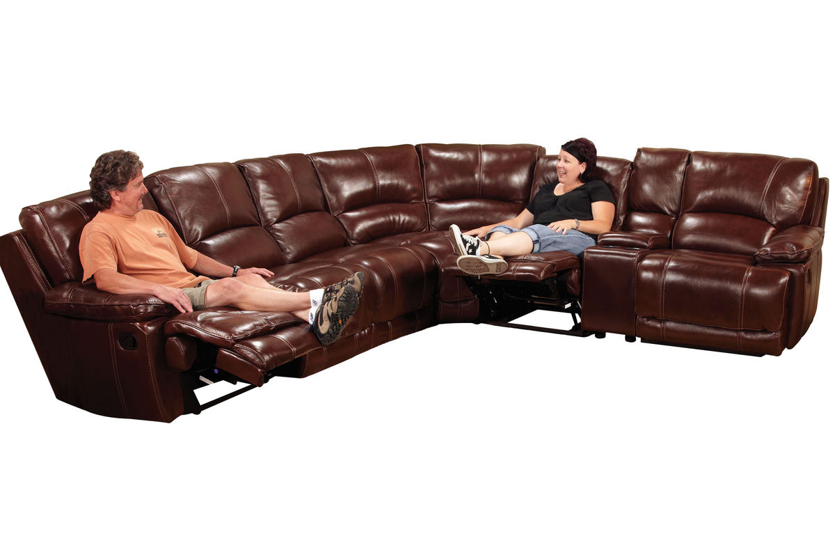 Kimberly 7-Piece Leather Reclining Sectional