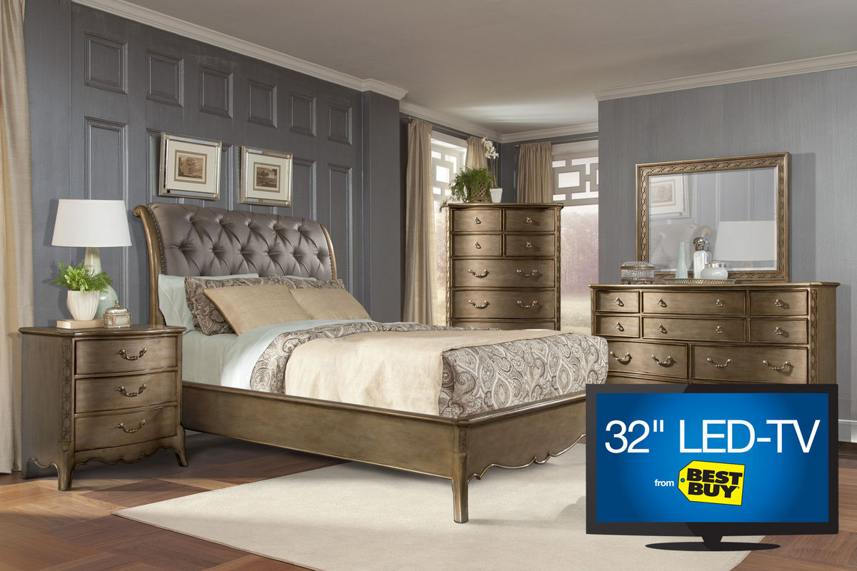 Jovani king bedroom set with 32quot tv at gardner white for Gardner white bedroom sets