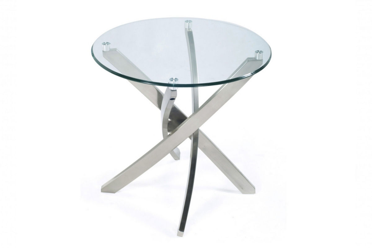 Brushed Nickel And Glass End Table At Gardner White