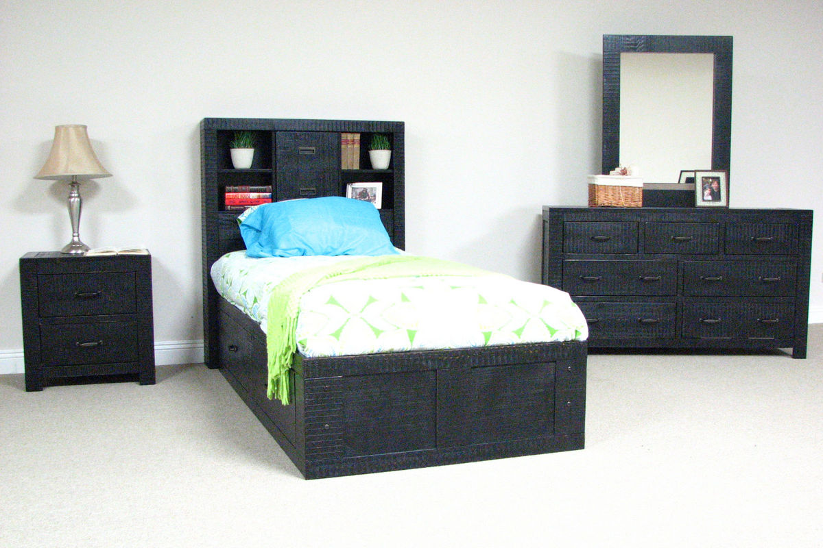 black twin captains bed at gardner white. Black Bedroom Furniture Sets. Home Design Ideas