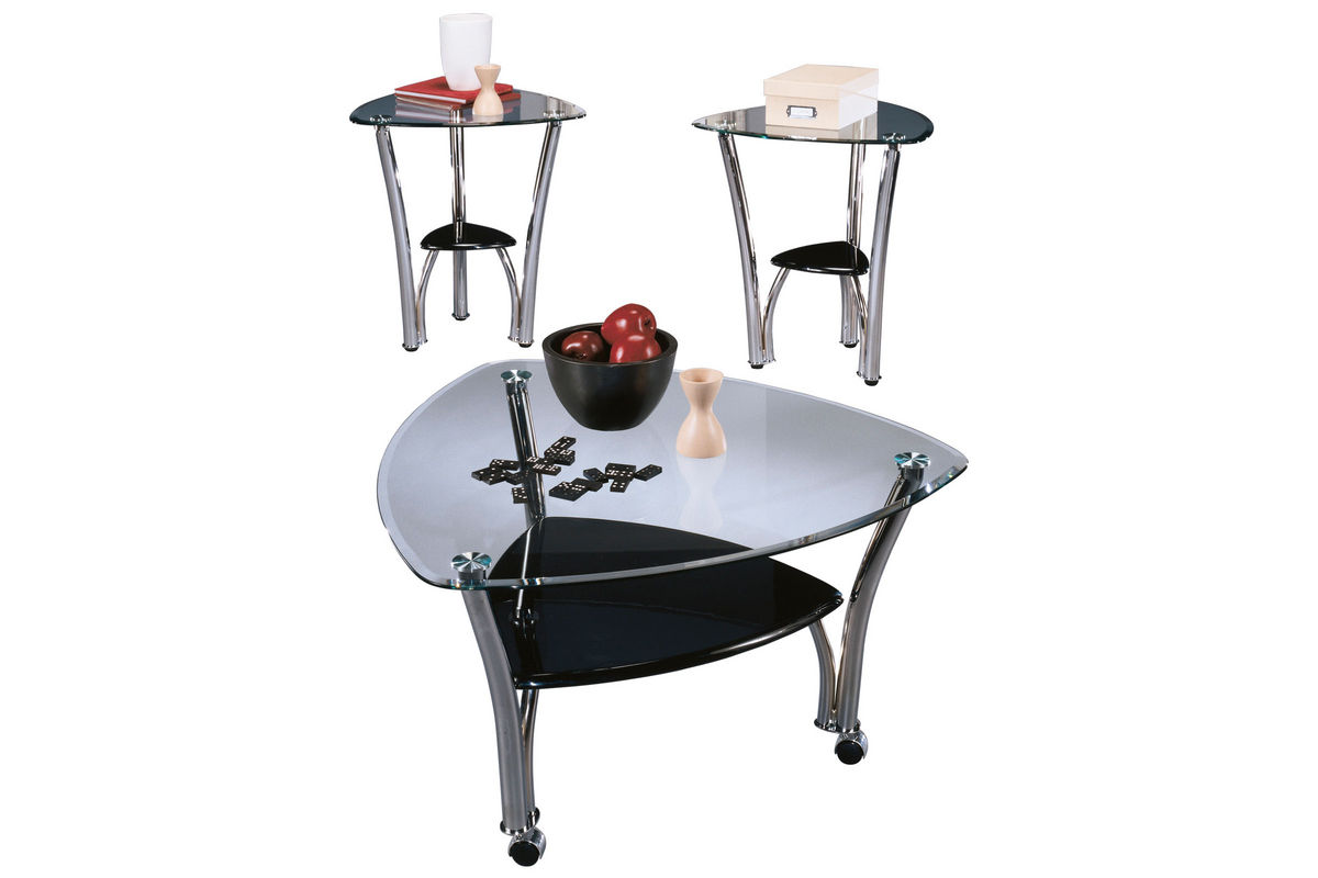 Pascal Glass U0026 Chrome Cocktail Table U0026 2 End Tables From Gardner White  Furniture