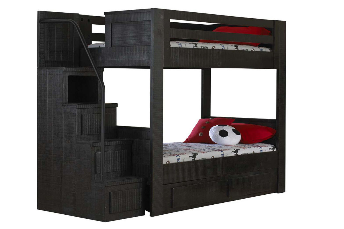 Black twin over twin bunk bed with staircase Black bunk beds