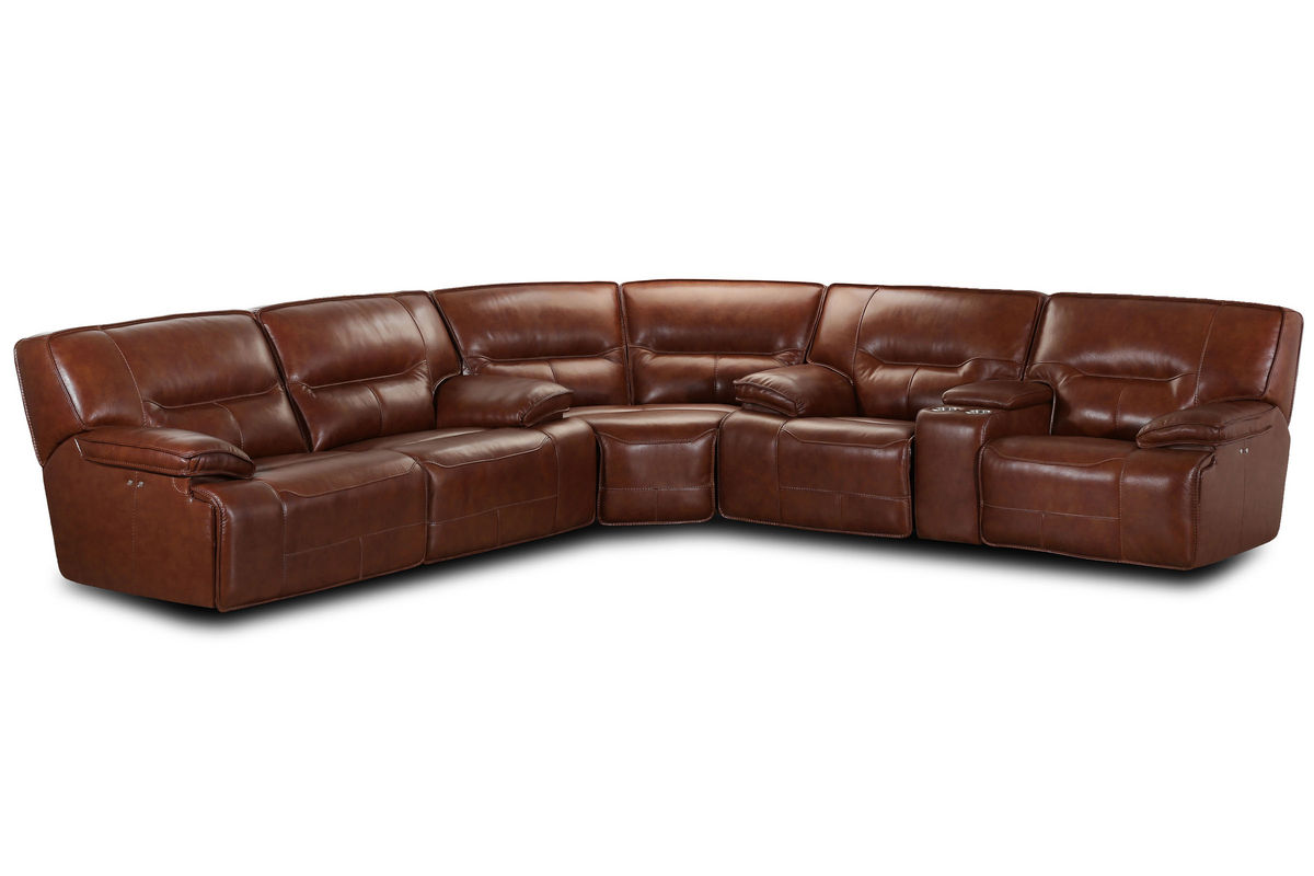 Leather sectional sofa with power recliner smileydotus for Leather sectional sofa with electric recliners