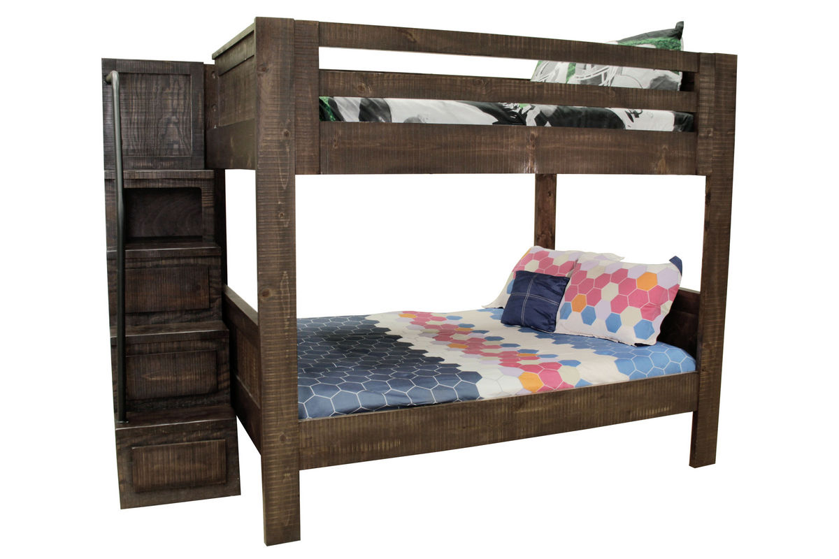 Walnut Twin Over Twin Bunk Bed With Staircase At Gardner White