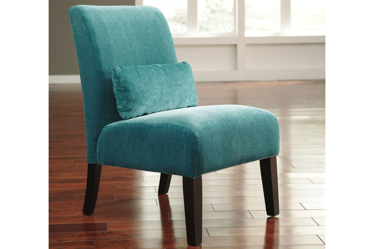 Annora teal accent chair by ashley at gardner white for Teal accent chairs in living room