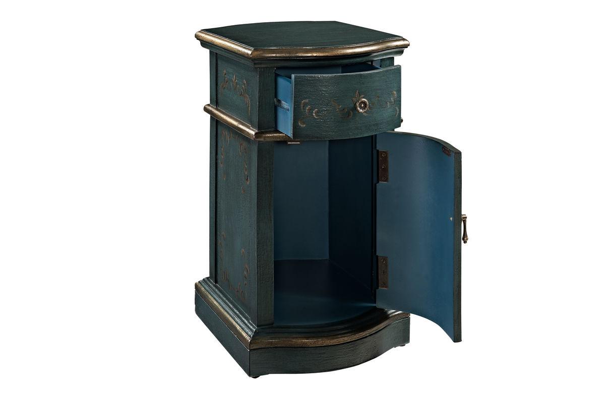 Blue chairside storage cabinet powell 237 222 at gardner white for Gardner storage