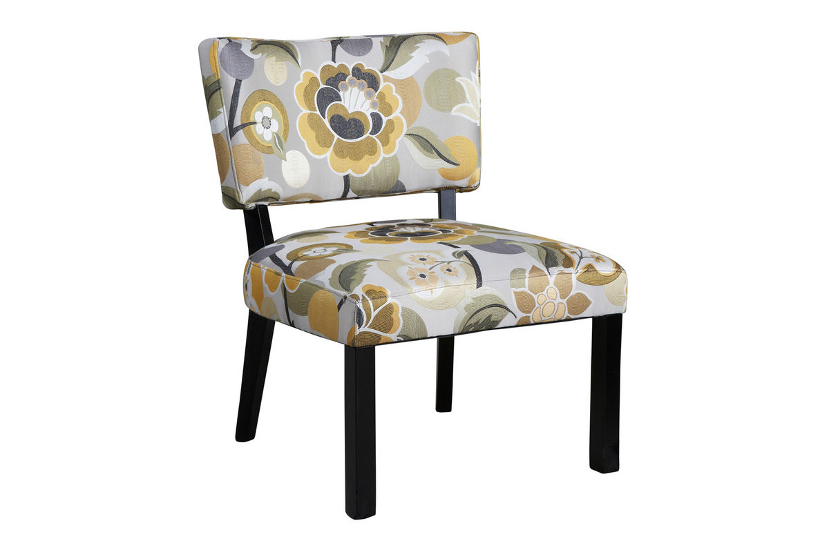 Yellow & Gray Floral Accent Chair Powell 383-631 at ...