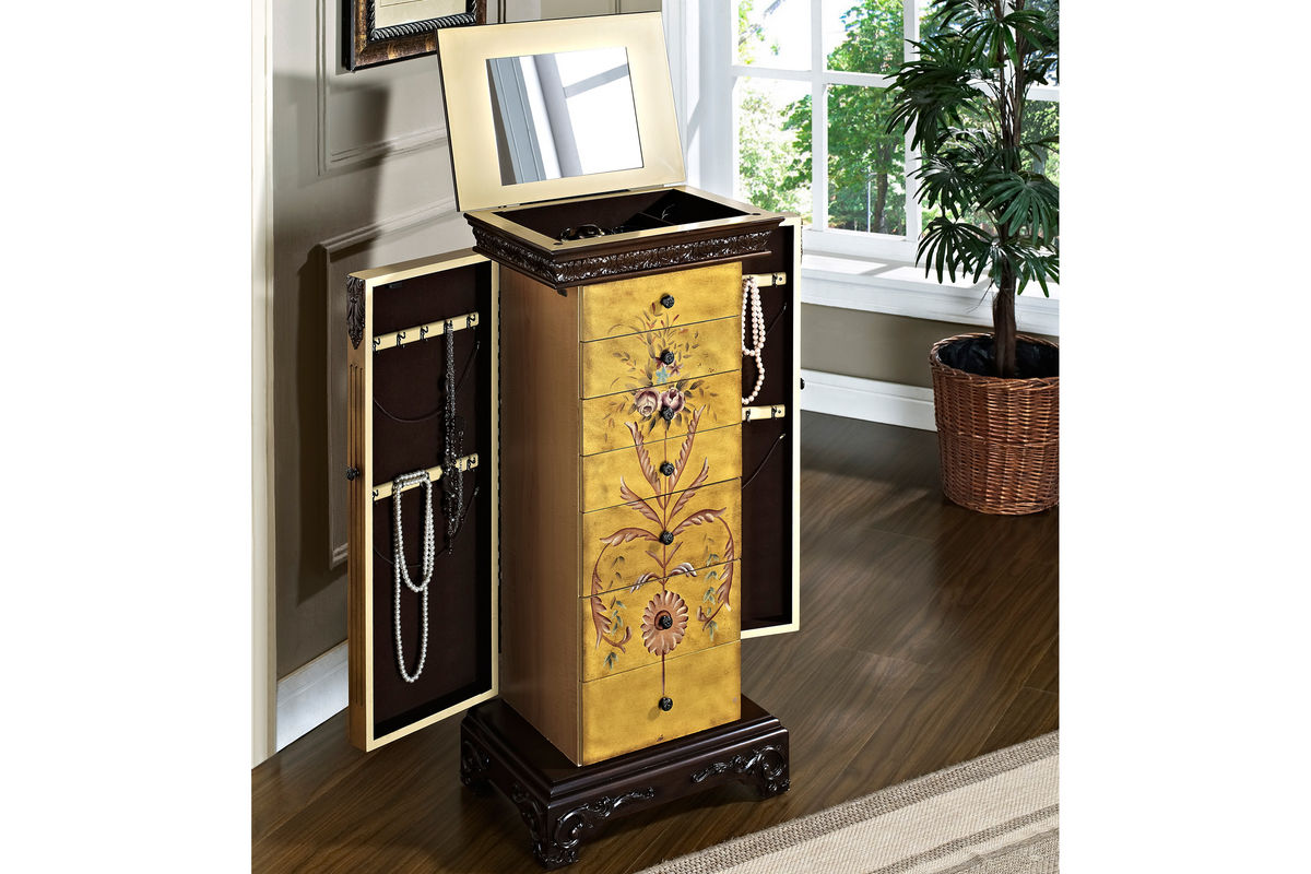 Masterpiece Antique Parchment Hand Painted Jewelry Armoire Powell