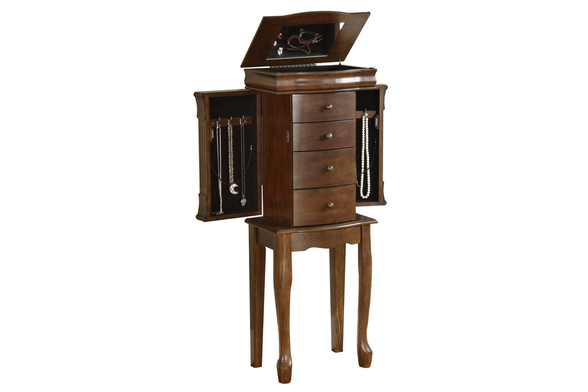 Louis Philippe Walnut Jewelry Armoire Powell 741319 at GardnerWhite