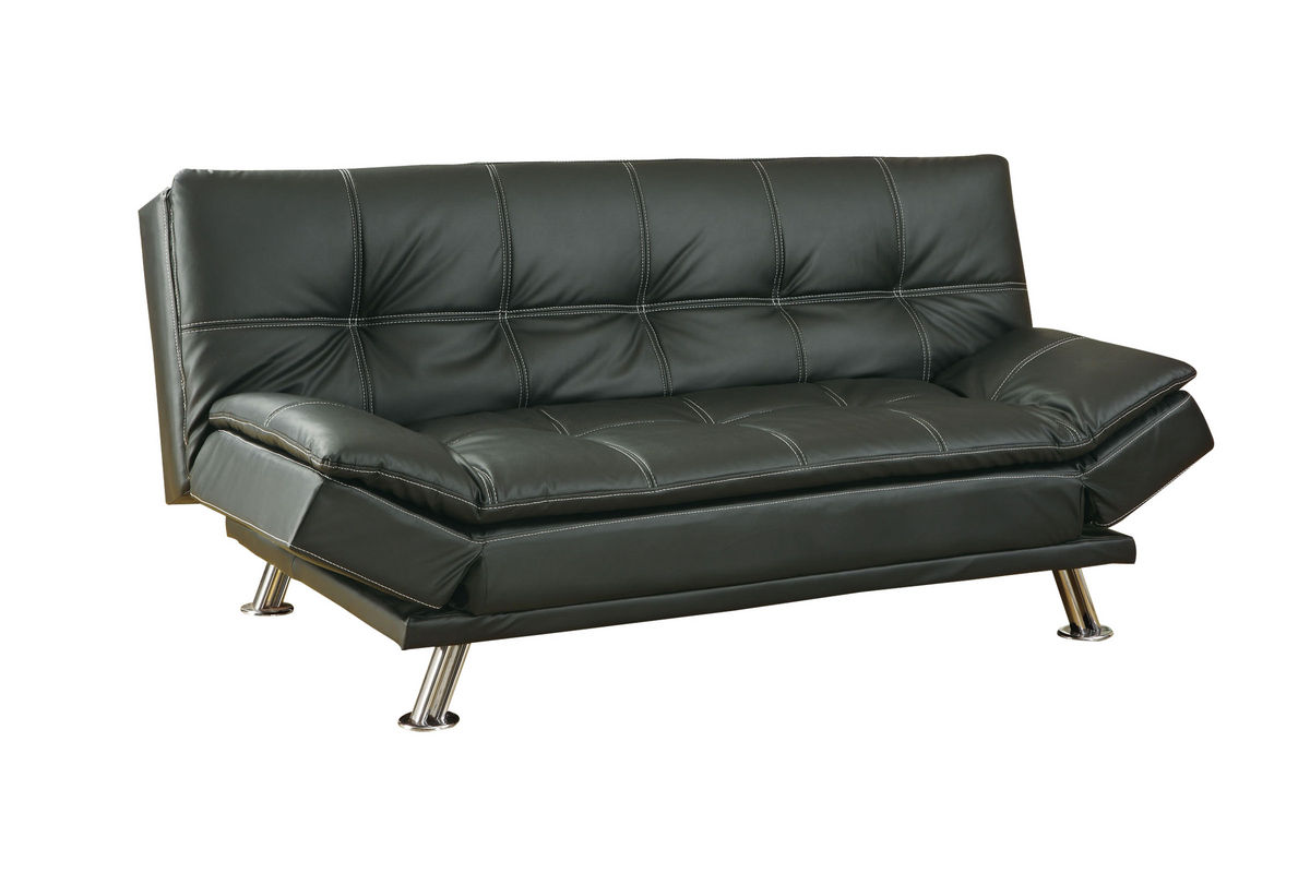 Black Leather Futon 300281 At Gardner White