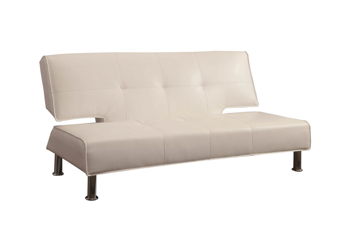 White Vinyl Futon 300296 From Gardner Furniture