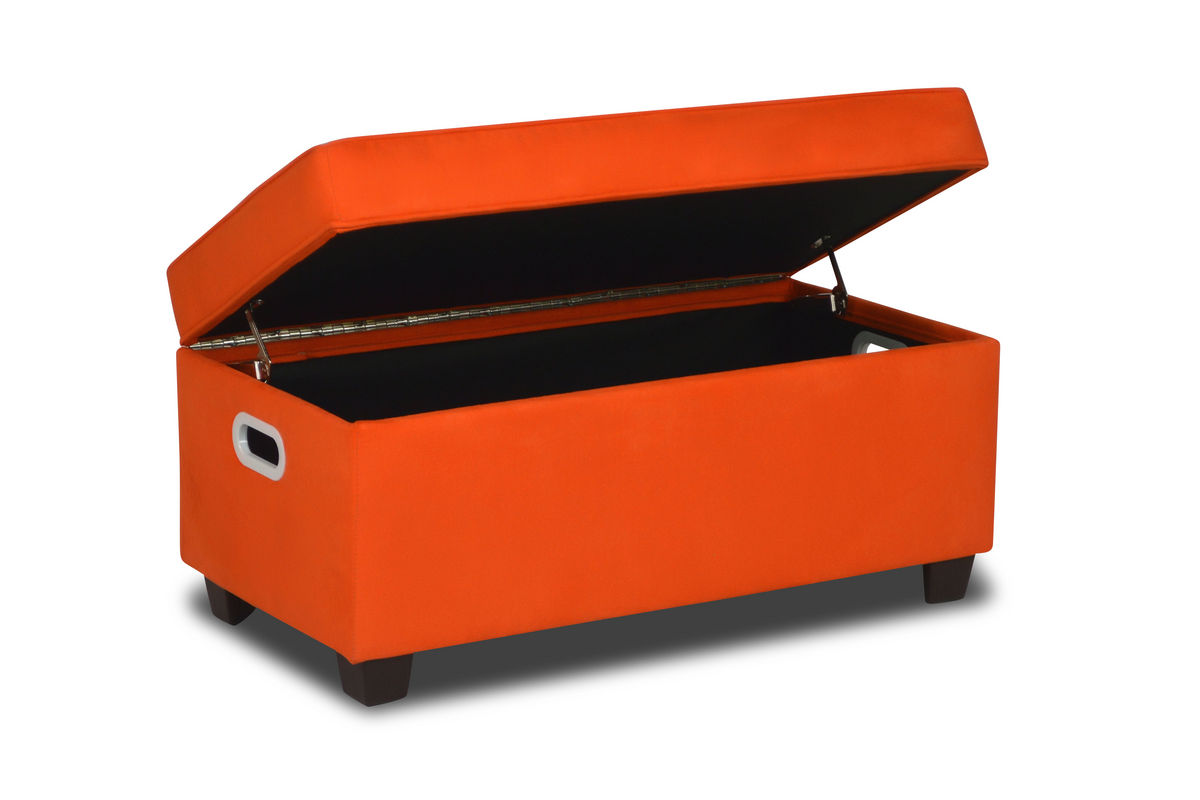 Zippity kids jack storage bench orange at gardner white for Gardner storage