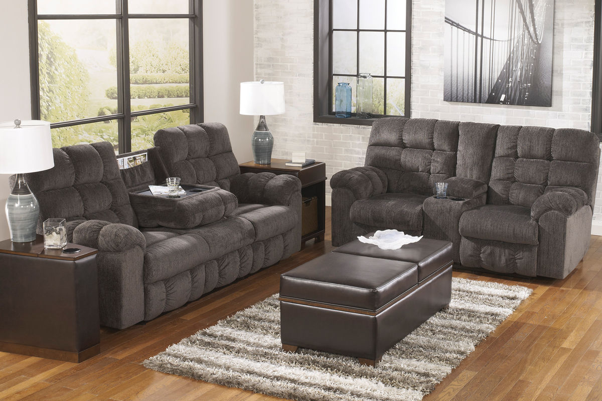 reclining living room set.  Leona Chenille Reclining Sofa with Drop Down Table
