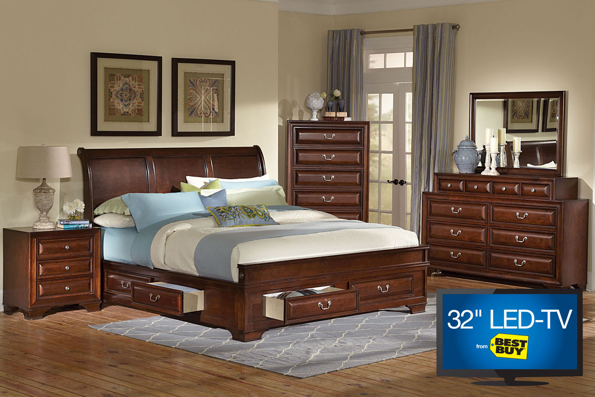 caldwell king bedroom set with 32 led tv