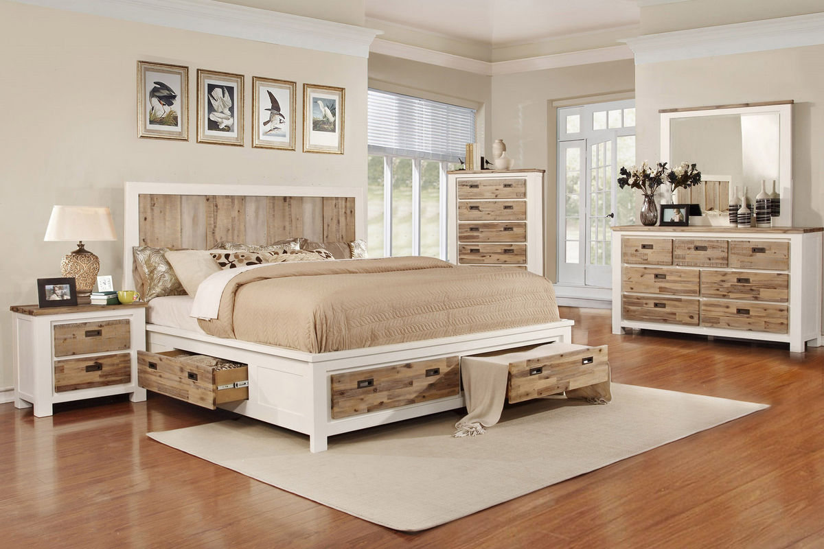 Western King Bed with Storage at Gardner-White
