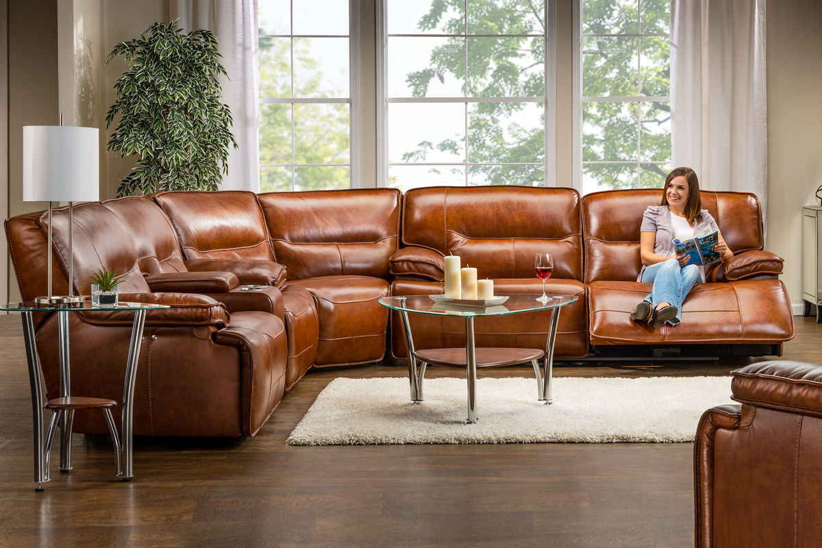 Drake Leather Power Reclining Sectional At Gardner White