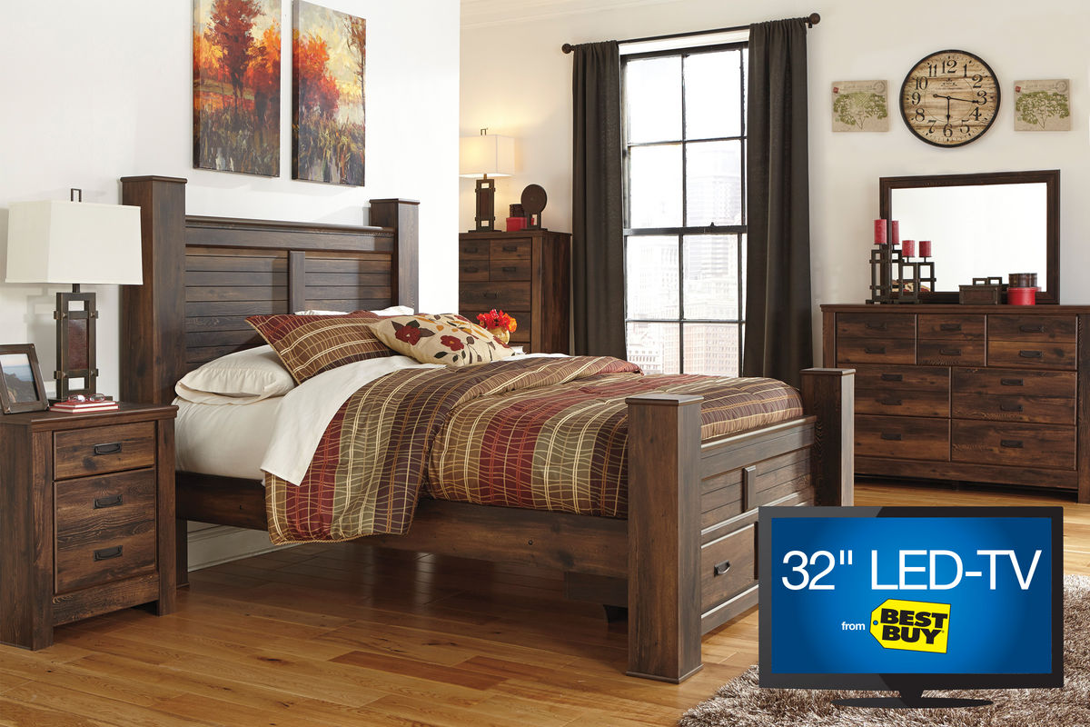 quinn queen bedroom set with 32 led tv