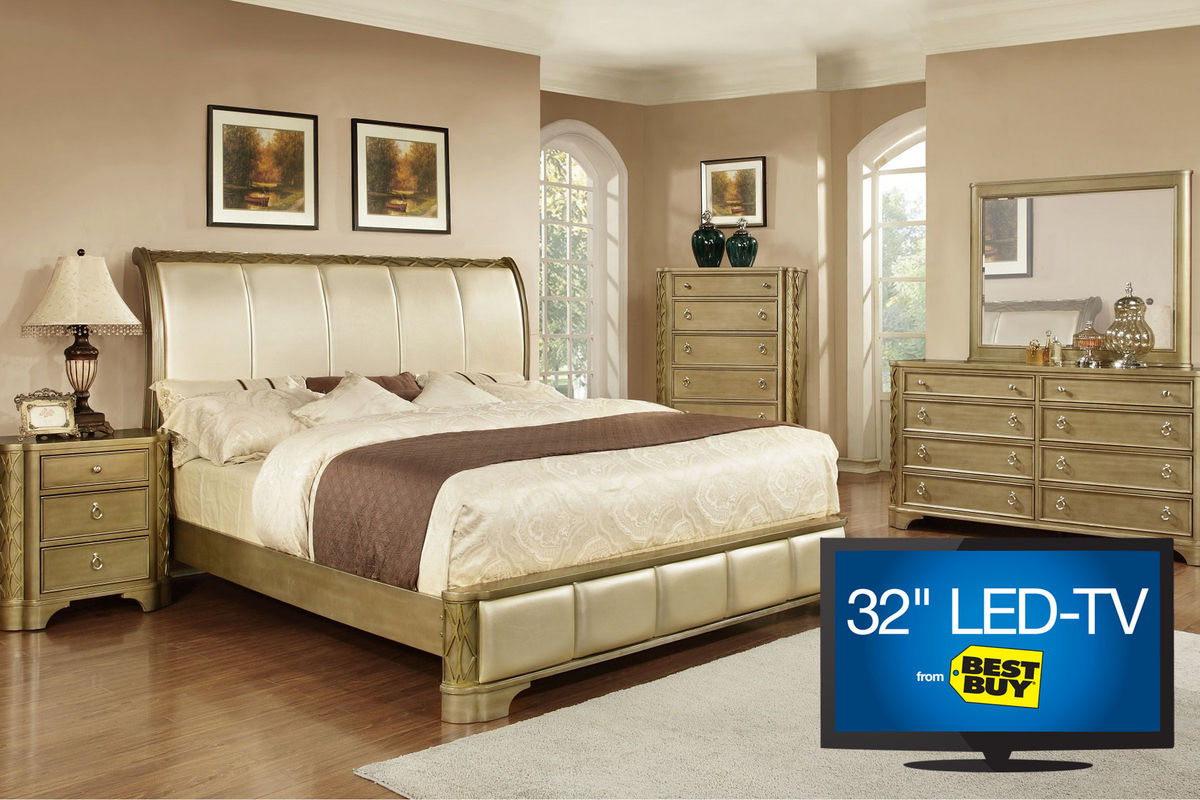 Golden 5 Piece King Bedroom Set With 32