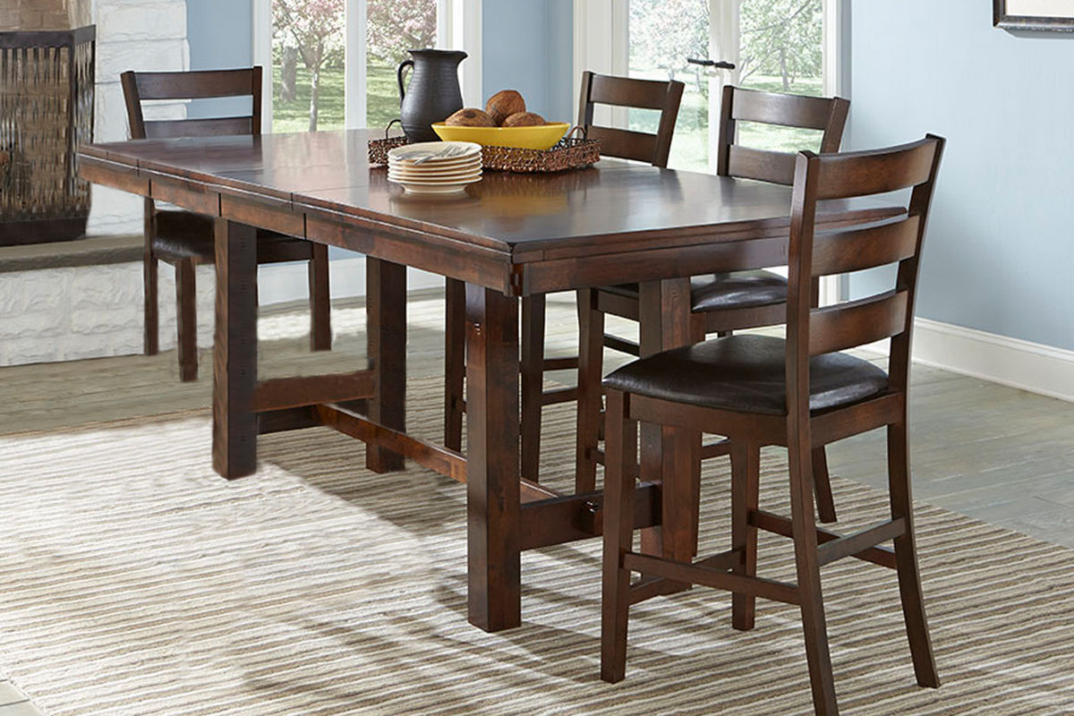 kona gathering table 6 bar stools at gardner white. Black Bedroom Furniture Sets. Home Design Ideas