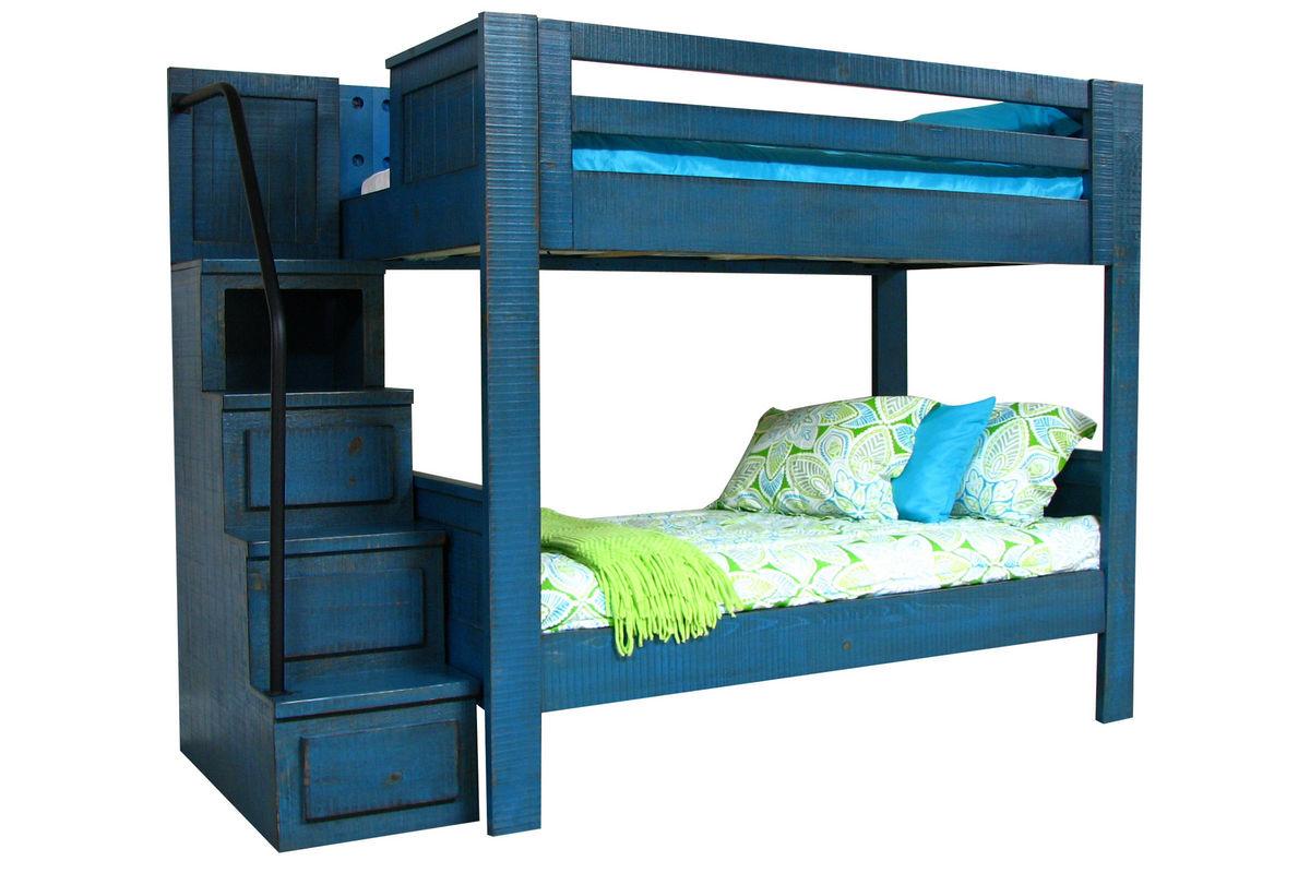 Blue Full Over Full Bunk Bed With Staircase At Gardner White