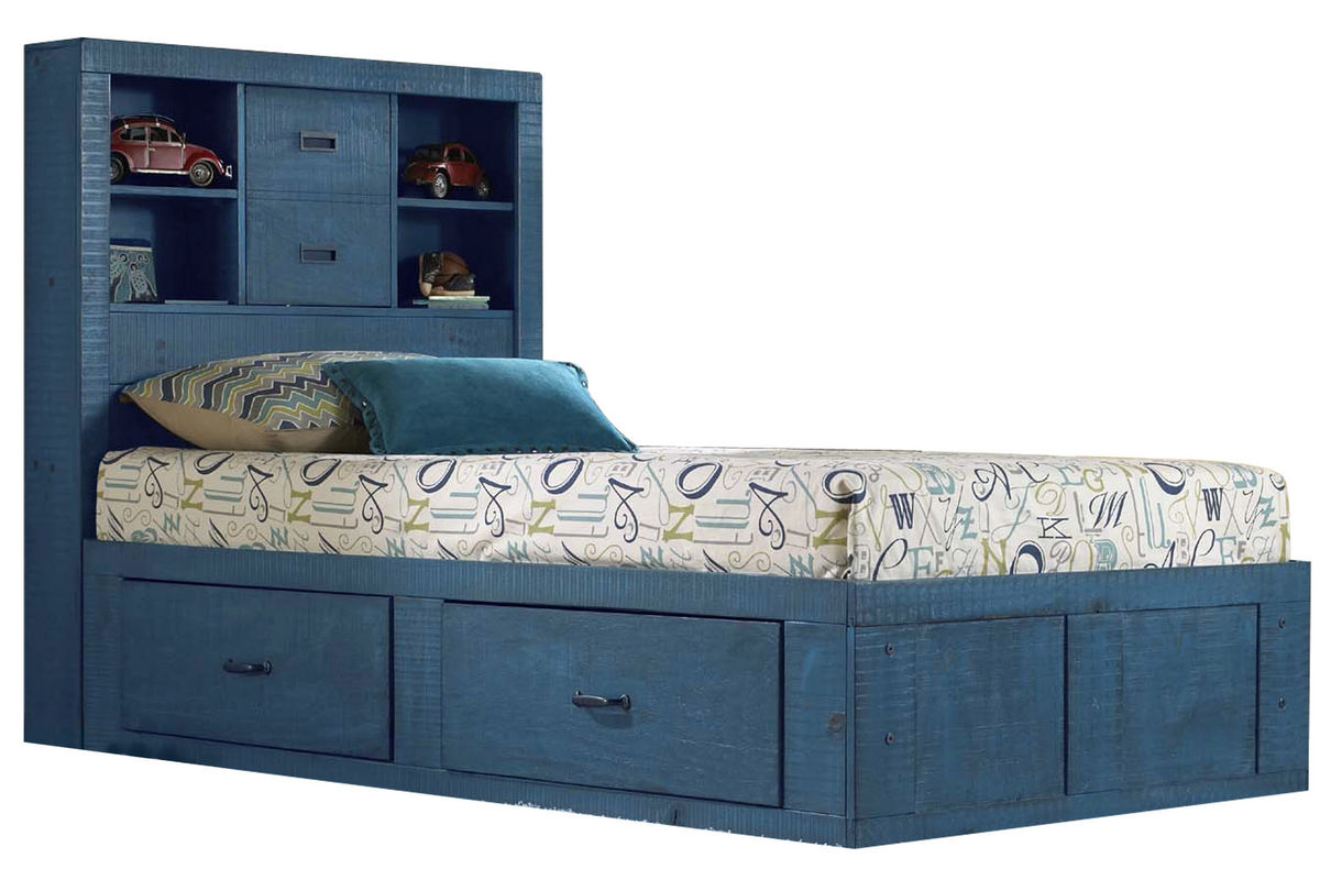Blue Twin Captains Bed At Gardner White