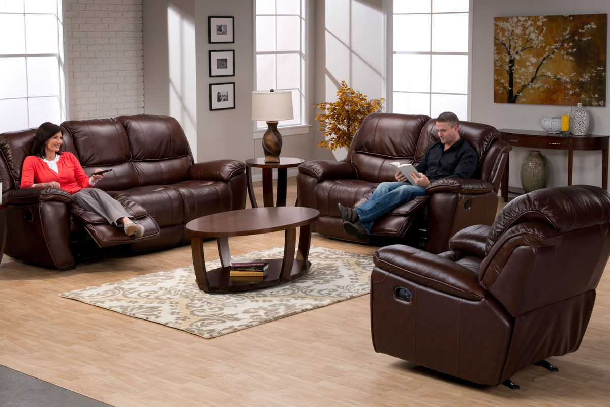 . Crosby Leather Reclining Loveseat