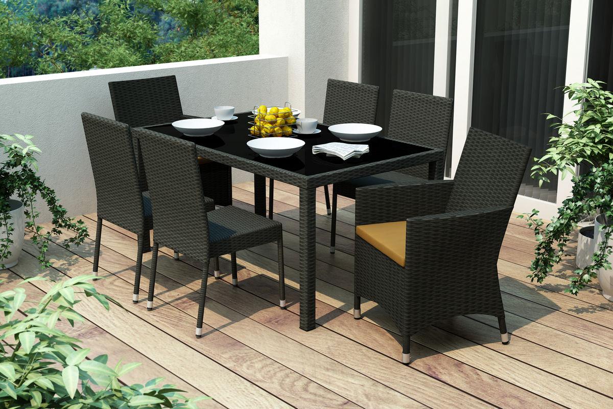 park terrace 7 piece black patio dining set at gardner white. Black Bedroom Furniture Sets. Home Design Ideas