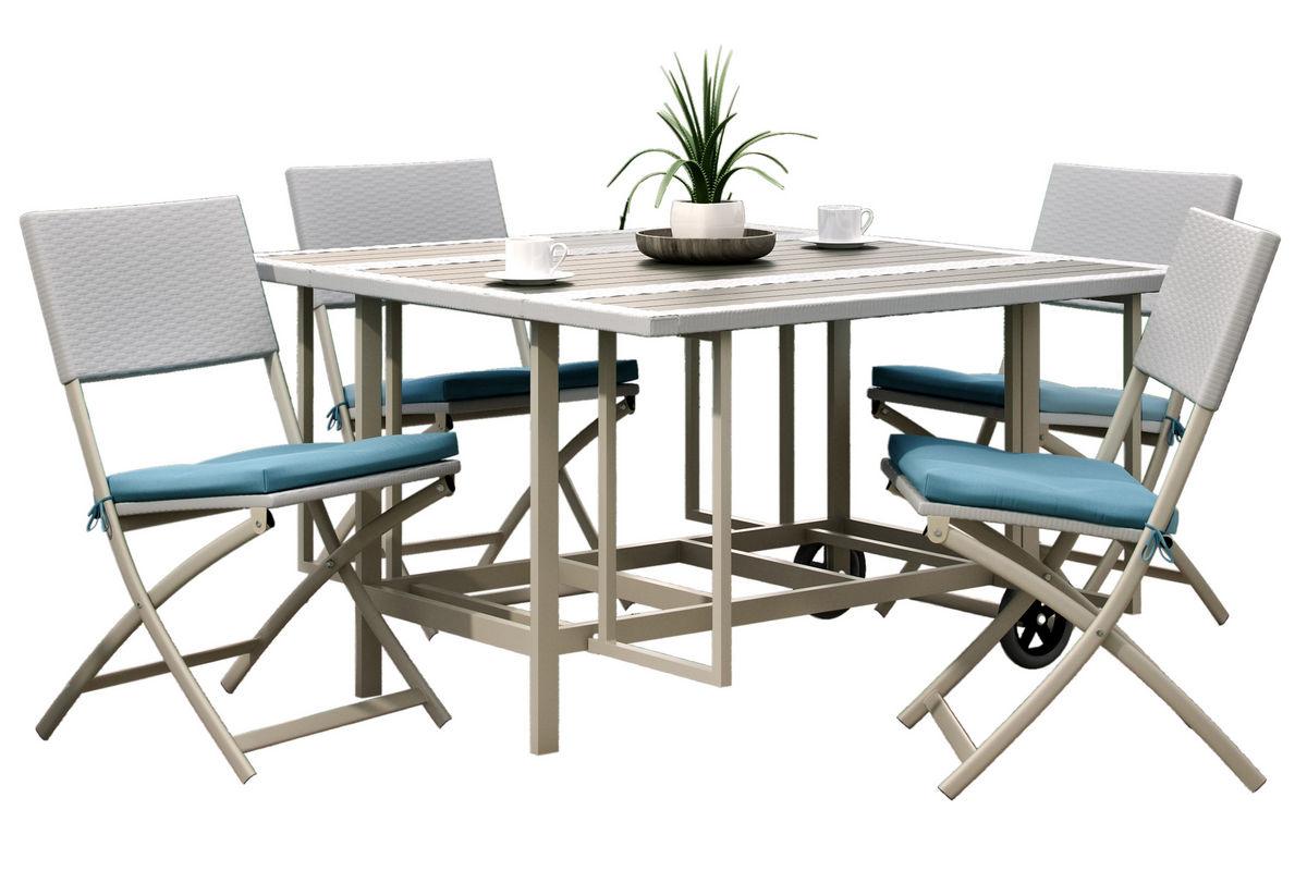Nantucket 5-Piece Stowable Folding Patio Dining Set At