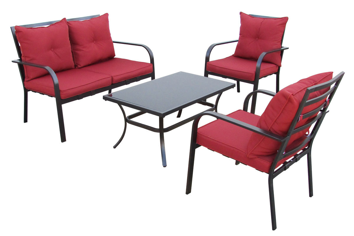 CorLiving 4-Piece Red Patio Conversation Set from Gardner-White Furniture