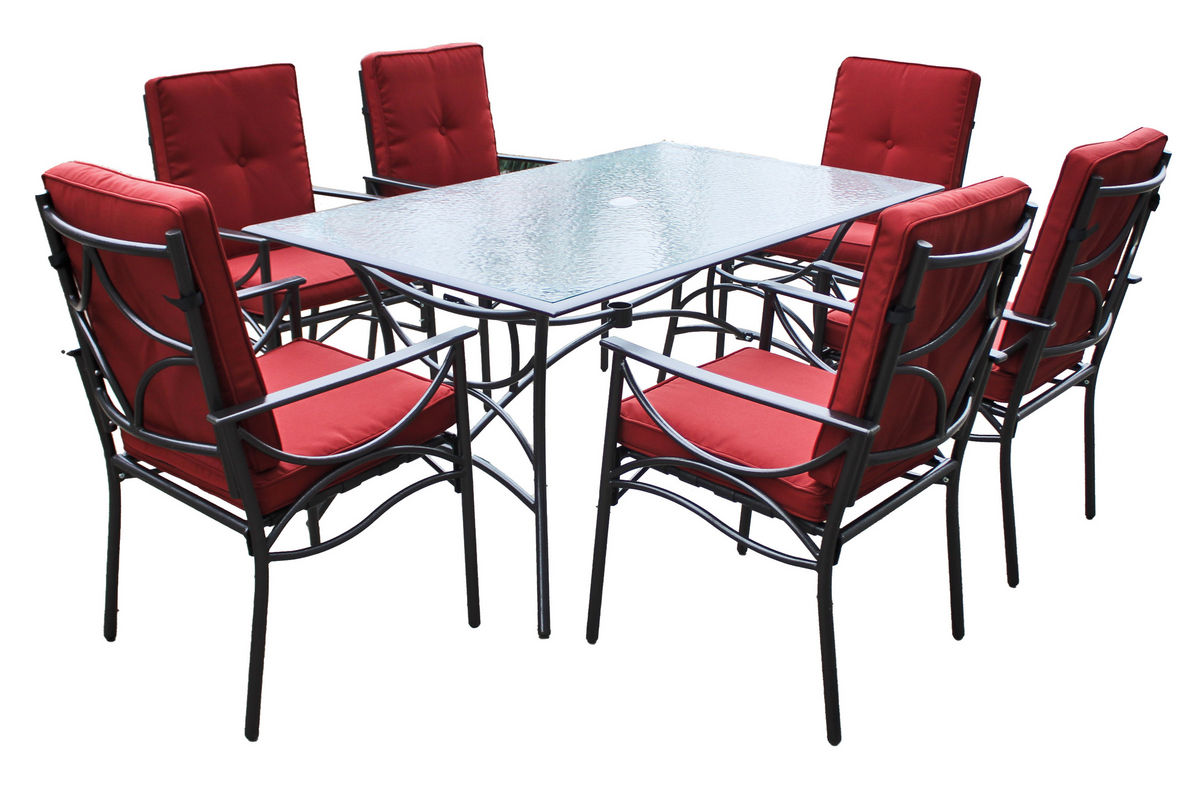 7-Piece Red Patio Dining Set from Gardner-White Furniture - 7-Piece Red Patio Dining Set At Gardner-White