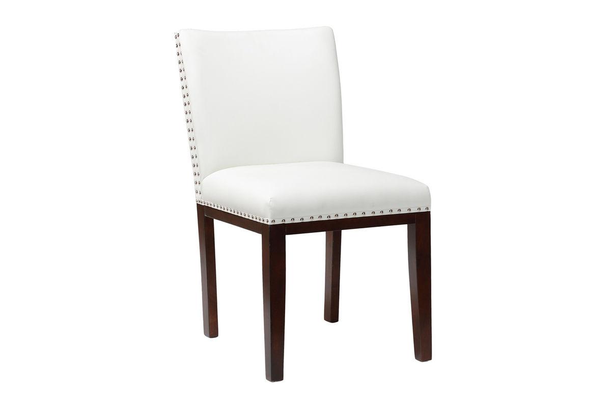 Fine Berkley White Bonded Leather Chair With Nailhead Theyellowbook Wood Chair Design Ideas Theyellowbookinfo