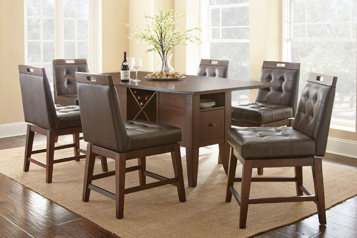 Mayfair Table + 4 Counter Swivel Chairs From Gardner White Furniture