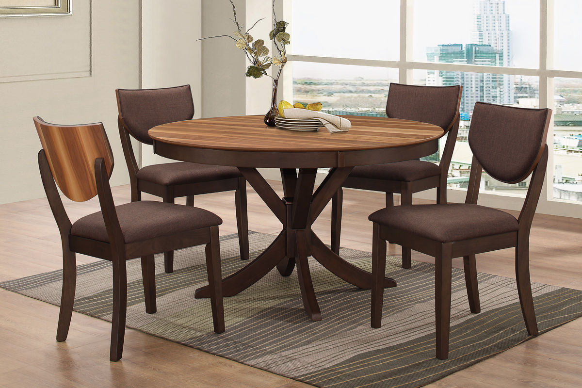 Turner Round Dining Table At GardnerWhite - White and brown round dining table