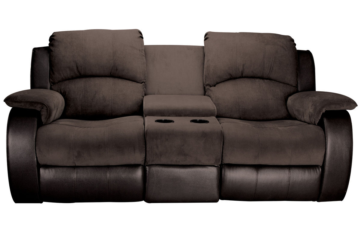 Lorenzo microfiber reclining loveseat with console Reclining loveseat with center console
