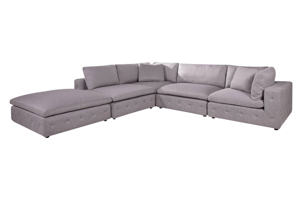 Nemo 4 piece microfiber sectional matching ottoman at for 4 piece sectional sofa microfiber