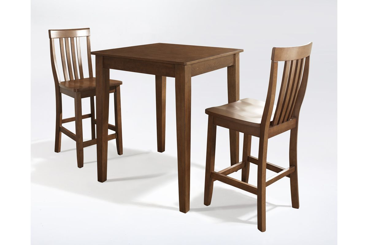 3 Piece Pub Dining Set with School House Stools in Classic Cherry by Crosley from Gardner-White Furniture