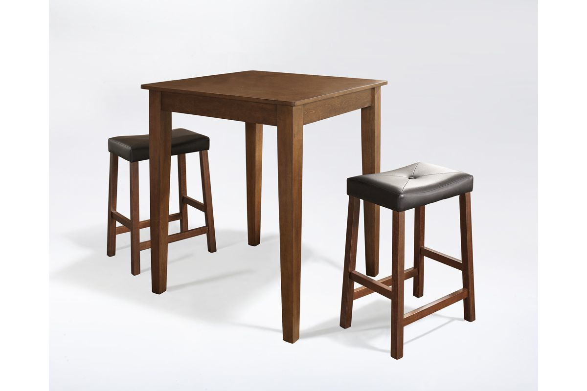3 Piece Pub Dining Set with Upholstered Saddle Stools in Classic Cherry by Crosley from Gardner-White Furniture